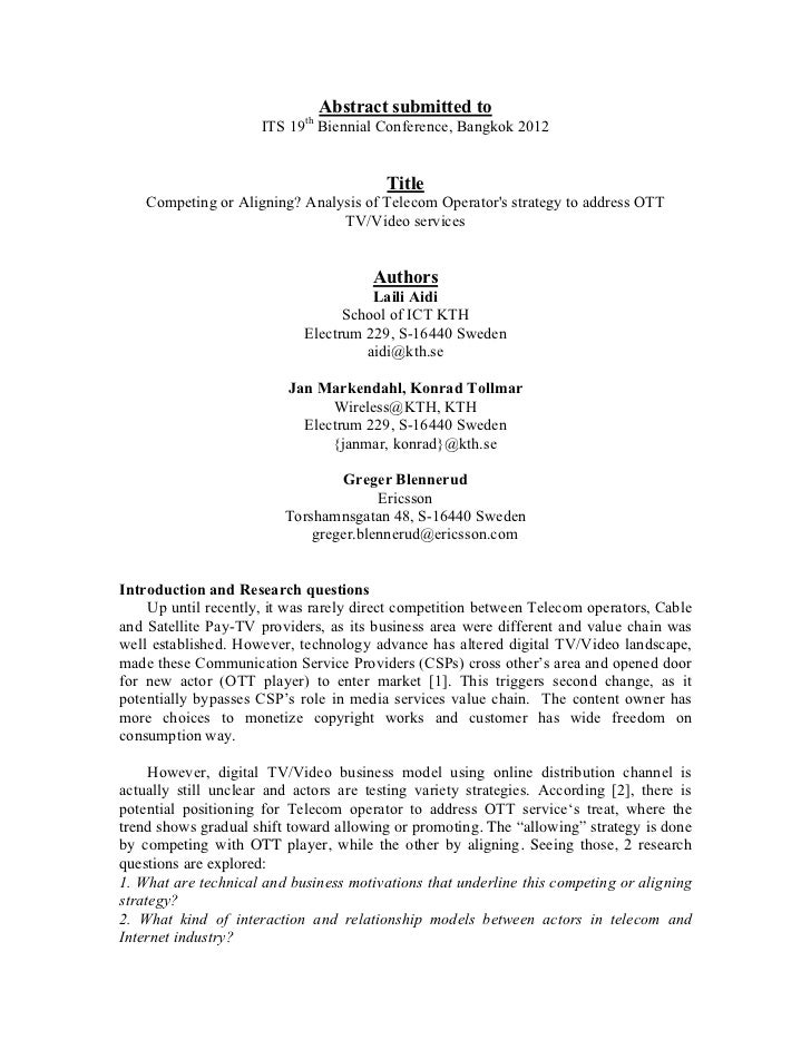 Abstract submitted to                      ITS 19th Biennial Conference, Bangkok 2012                                     ...