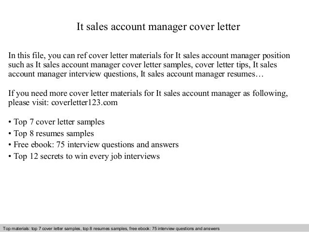 Inside sales account manager cover letter
