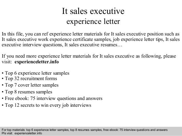 It sales executive experience letter 1 638gcb1409108418 interview questions and answers free download pdf and ppt file it sales executive experience yelopaper Gallery