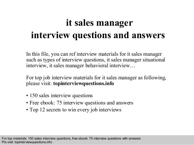Sales manager interview questions and answers pdf ebook