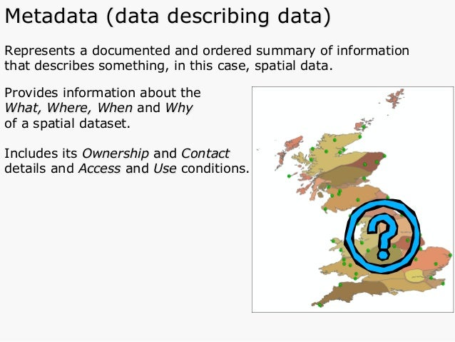 Represents a documented and ordered summary of information that describes something, in this case, spatial data. Provides ...
