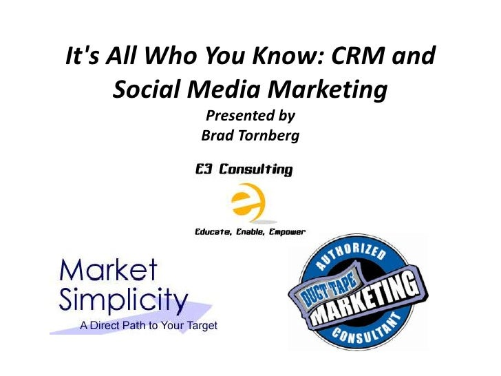 Its All Who You Know: CRM and     Social Media Marketing           Presented by          Brad Tornberg