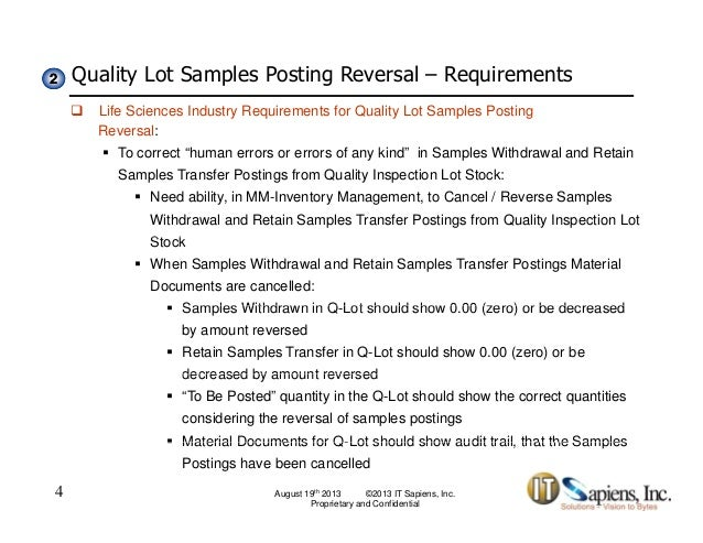 Quality Inspection Lot Sample Postings Reversal-Solution Brief
