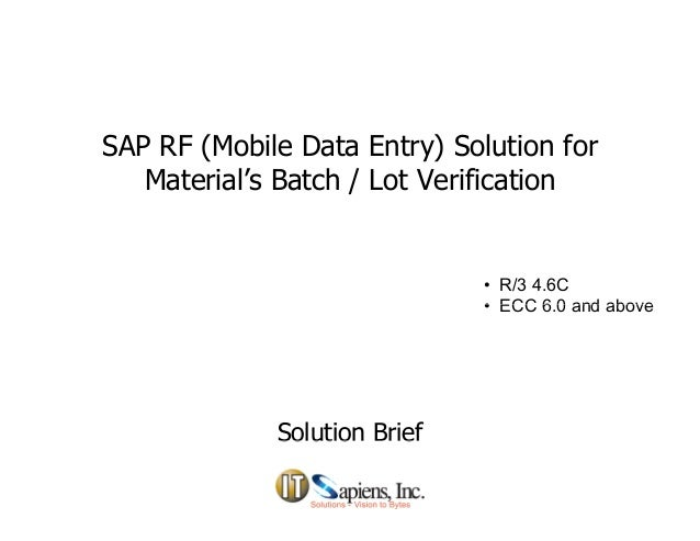 Batch Verification in SAP RF