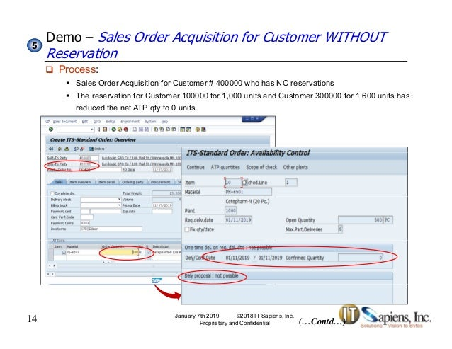 SAP Sales Order Processing With Customer Reservations
