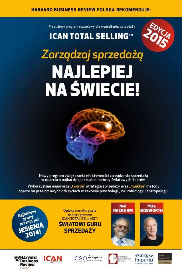 Harvard Business Review Polska rekomenduje:  Prestiżowy program rozwojowy dla menedżerów sprzedaży  ICAN TOTAL SELLING™  E...
