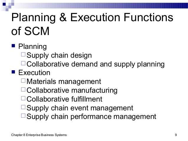 Chapter 8 Enterprise Business Systems 9 Planning & Execution Functions of SCM  Planning Supply chain design Collaborati...