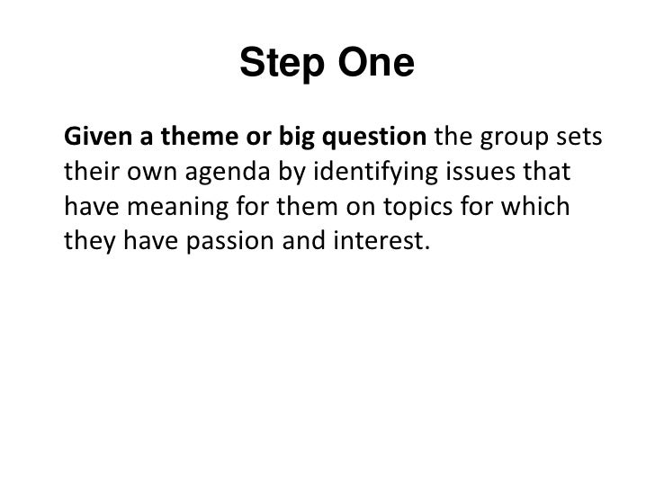 """Step Two<br />On September 27th, in your """"Big Question"""" group, write issues about the question on a piece of paper.<br />"""