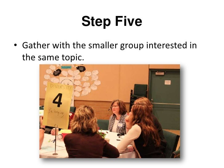 Step Six<br />Report out what you learned in your small group to the larger group.<br />
