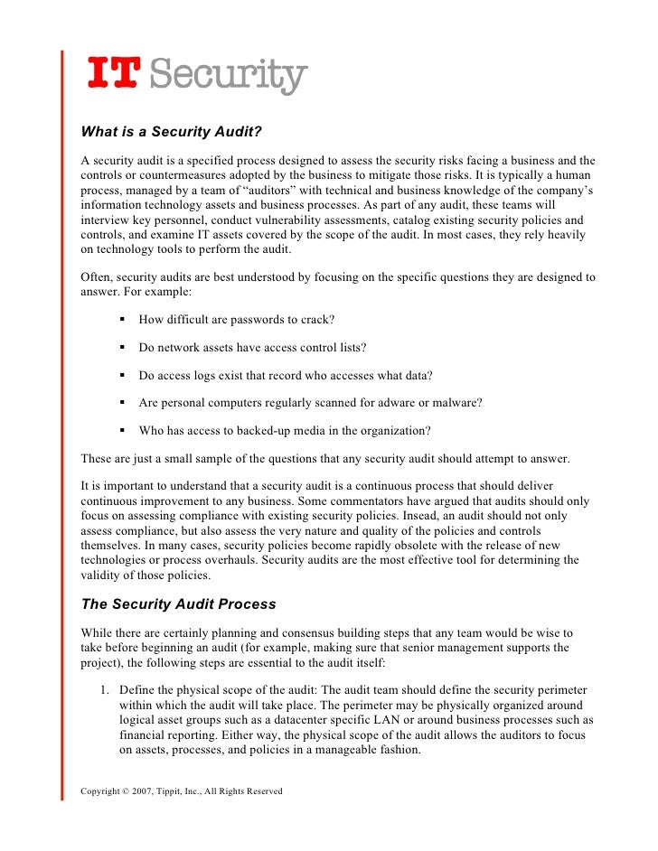 What is a Security Audit? A security audit is a specified process designed to assess the security risks facing a business ...