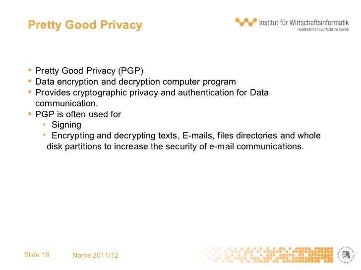 an analysis of the pretty good privacy data encryption program in data communications Start studying chapter 8 learn vocabulary pretty good privacy pgp a data encryption and decryption computer program that provides cryptographic privacy and.