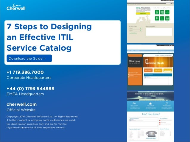 It service catalog examples for Itil service catalogue template