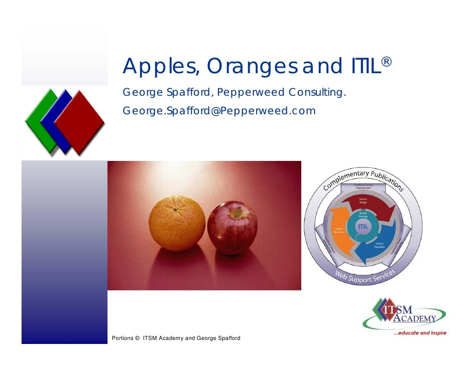 Apples, Oranges and ITIL®    George Spafford, Pepperweed Consulting.    George.Spafford@Pepperweed.com     Portions © ITSM...