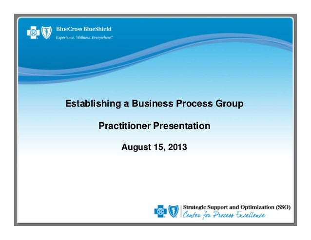 Establishing a Business Process Group Practitioner Presentation August 15, 2013