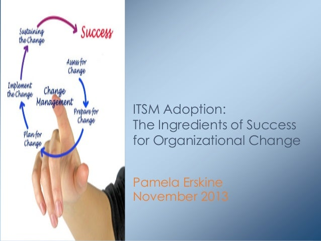 ITSM Adoption: The Ingredients of Success for Organizational Change Pamela Erskine November 2013