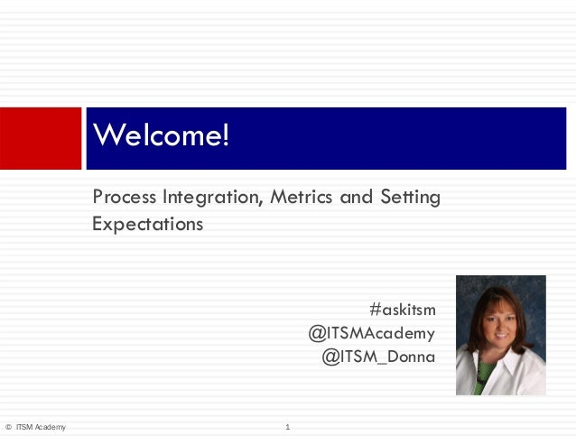 1© ITSM Academy Process Integration, Metrics and Setting Expectations Welcome! #askitsm @ITSMAcademy @ITSM_Donna
