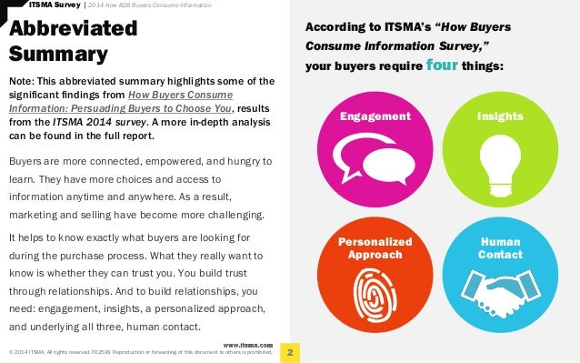 Persuading Buyers to Choose You, Results from the ITSMA How B2B Buyers Consume Information Survey, 2014  Slide 2
