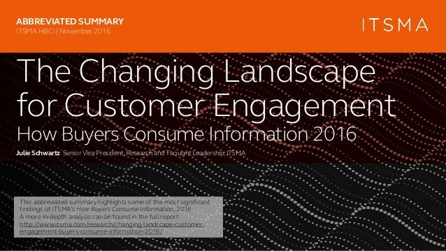 The Changing Landscape for Customer Engagement How Buyers Consume Information 2016 Julie Schwartz SeniorVice President,Res...