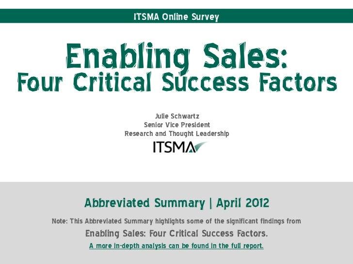 ITSMA Online Survey       Enabling Sales:Four Critical Success Factors                                   Julie Schwartz   ...