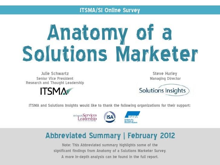 ITSMA/SI Online Survey  Anatomy of aSolutions Marketer        Julie Schwartz                                              ...