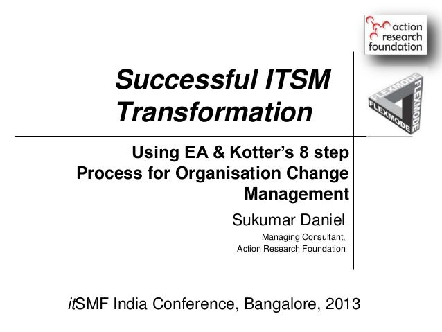 Successful ITSM Transformation Using EA & Kotter's 8 step Process for Organisation Change Management Sukumar Daniel Managi...