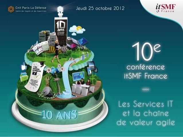Président de filière Orateur Sponsor Administrateur itSMF 2 Elaboration du Catalogue de Service IT du Consortium Stade de ...