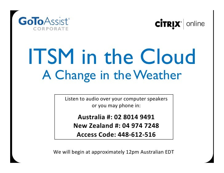 ITSM in the Cloud  A Change in the Weather           Listen to audio over your computer speakers       ...
