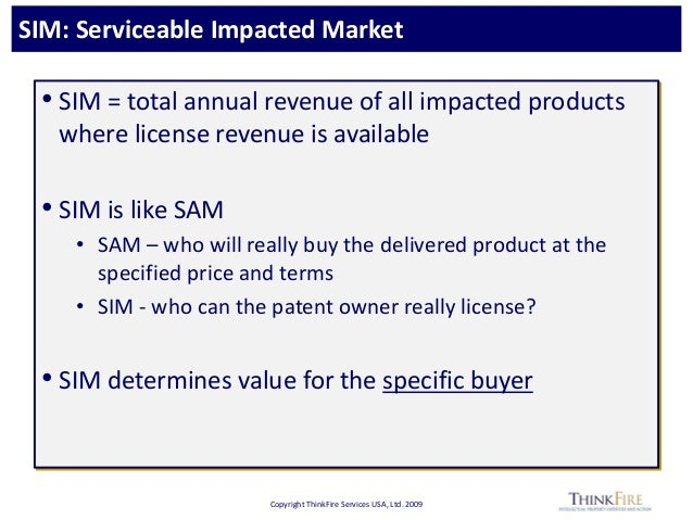 Copyright ThinkFire Services USA, Ltd. 2009 SIM: Serviceable Impacted Market • SIM = total annual revenue of all impacted ...