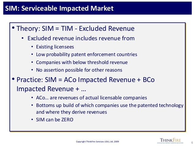Copyright ThinkFire Services USA, Ltd. 2009 SIM: Serviceable Impacted Market 6 • Theory: SIM = TIM - Excluded Revenue • Ex...