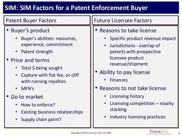 Copyright ThinkFire Services USA, Ltd. 2009 SIM: SIM Factors for a Patent Enforcement Buyer 7 • Buyer's product • Buyer's ...