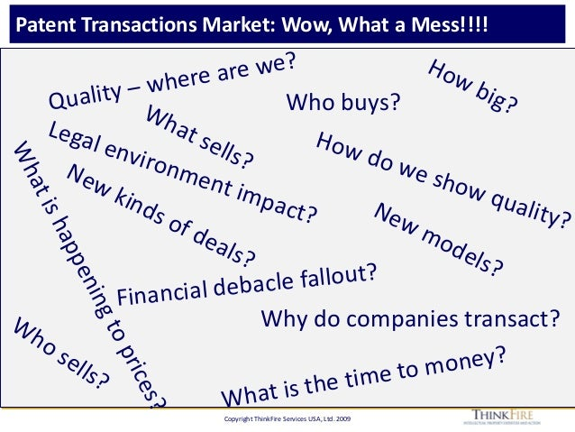 Copyright ThinkFire Services USA, Ltd. 2009 Patent Transactions Market: Wow, What a Mess!!!! How big?Who buys? Who sells? ...