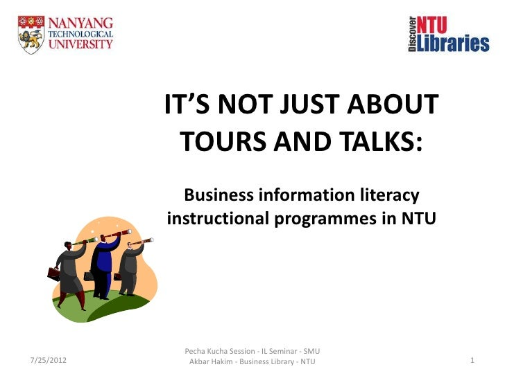 IT'S NOT JUST ABOUT             TOURS AND TALKS:              Business information literacy            instructional progr...