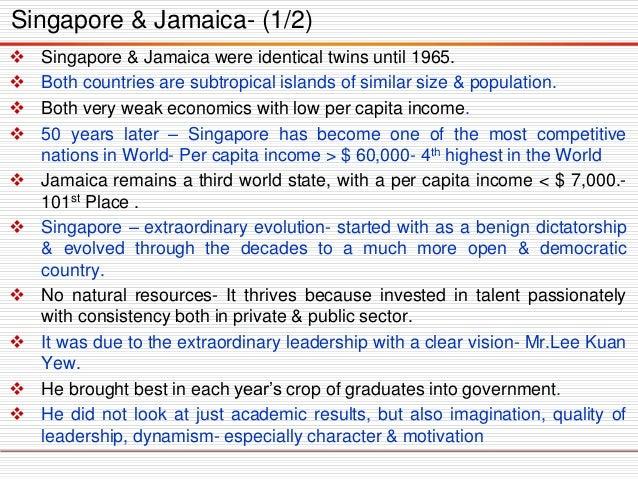 Singapore&Jamaicawereidenticaltwinsuntil1965.  Bothcountriesaresubtropicalislandsofsimilarsize&population.  Bothverywea...