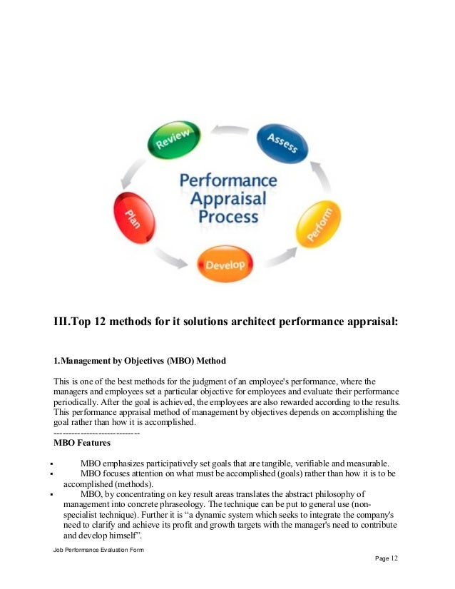 It solutions architect performance appraisal