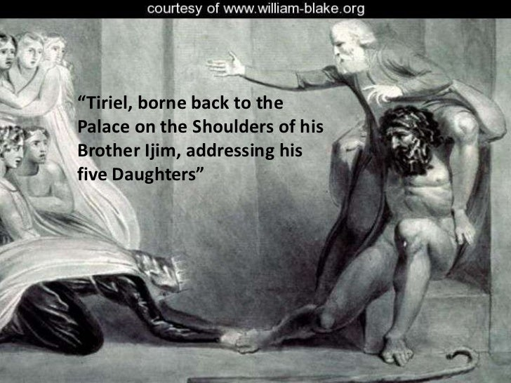 """""""Tiriel, borne back to the Palace on the Shoulders of his Brother Ijim, addressing his five Daughters""""<br />"""