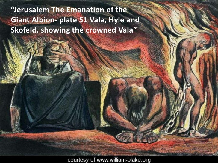 """""""Jerusalem The Emanation of the Giant Albion- plate 51 Vala, Hyle and Skofeld, showing the crowned Vala""""<br />"""