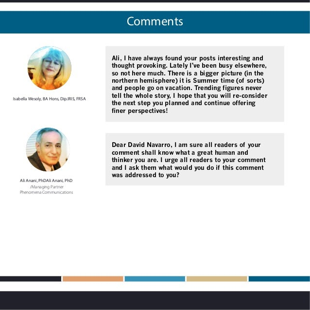 Comments Isabella Wesoly, BA Hons, Dip.IRIS, FRSA Ali, I have always found your posts interesting and thought provoking. L...