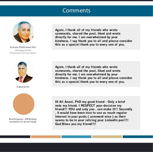 Comments Again, I thank all of my friends who wrote comments, shared the post, liked and wrote directly for me. I am overw...