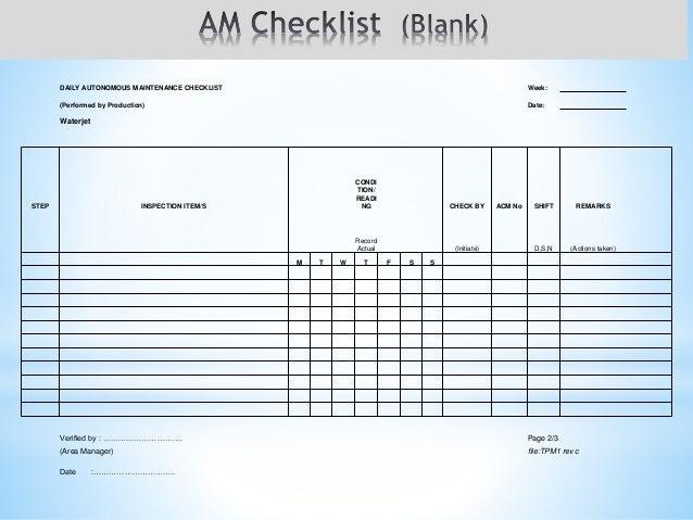 Tpm checklist example