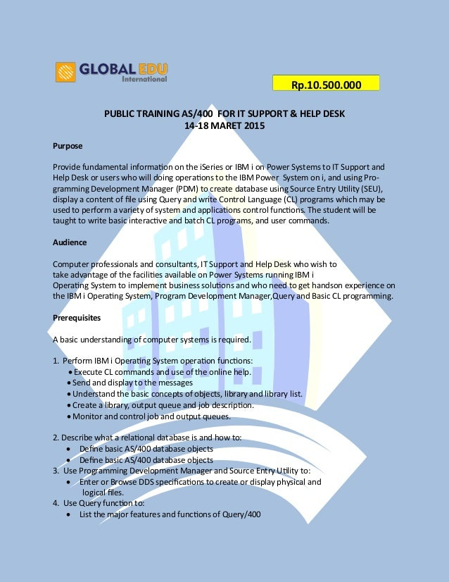 Public Training AS/400 for IT Support & Help Desk ( 14-18 Maret 2016 )