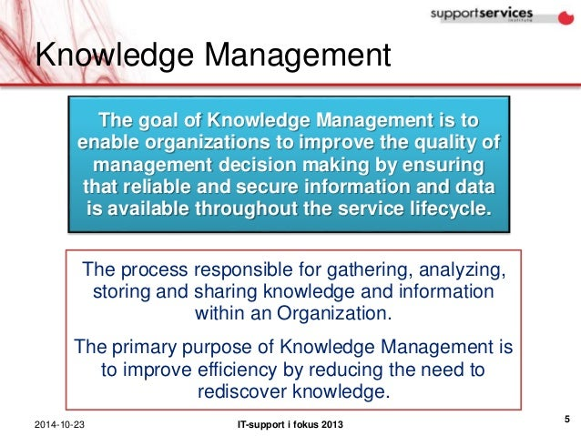 Knowledge Management The Goal Of