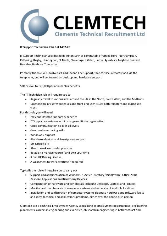 it support technician jobs ref 1407 28 it support technician jobs based in milton keynes - Hardware Technician Jobs