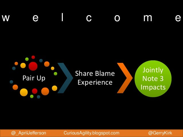 @_AprilJefferson @GerryKirkCuriousAgility.blogspot.com w e l c o m e Pair Up Share Blame Experience Jointly Note 3 Impacts