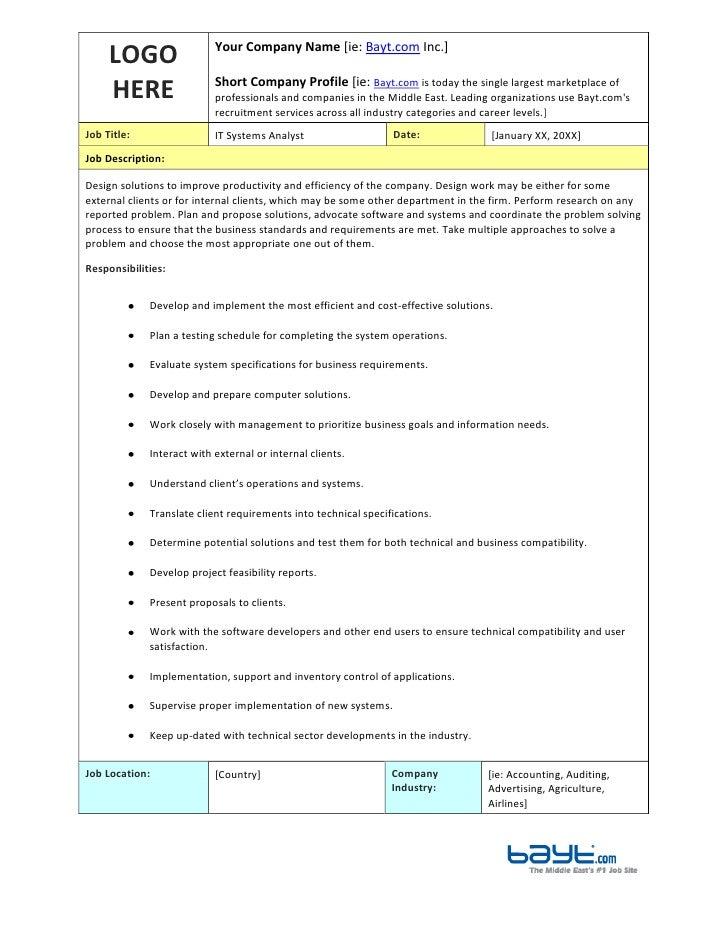 computer systems analysts job description