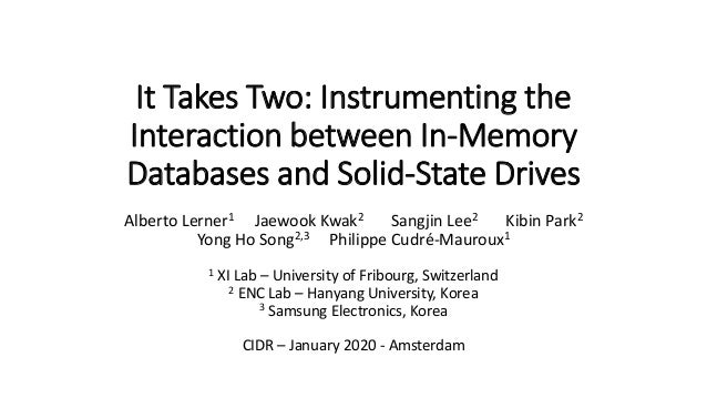 It Takes Two: Instrumenting the Interaction between In-Memory Databases and Solid-State Drives Alberto Lerner1 Jaewook Kwa...
