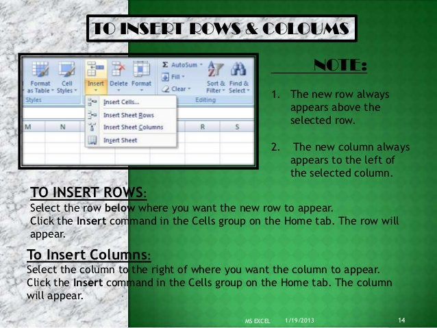 TO INSERT ROWS & COLOUMS                                                                  NOTE:                           ...