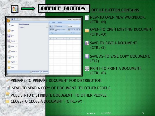 OFFICE BUTTON CONTAINS..                                        NEW-TO OPEN NEW WORKBOOK.                                 ...