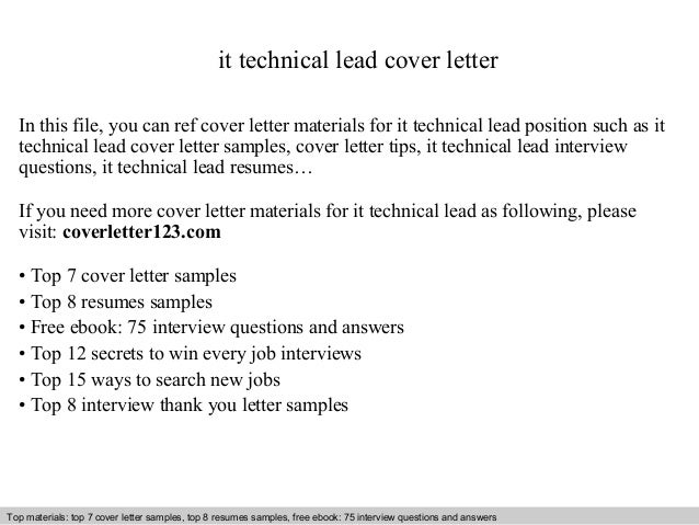 It Technical Lead Cover Letter In This File, You Can Ref Cover Letter  Materials For ...