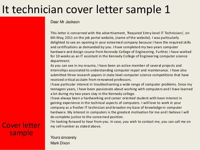 It Technician Cover Letter ...