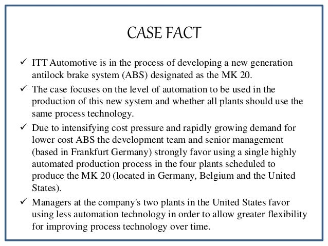 ITT Automotive: Global Manufacturing Strategy–1994 HBS Case Analysis